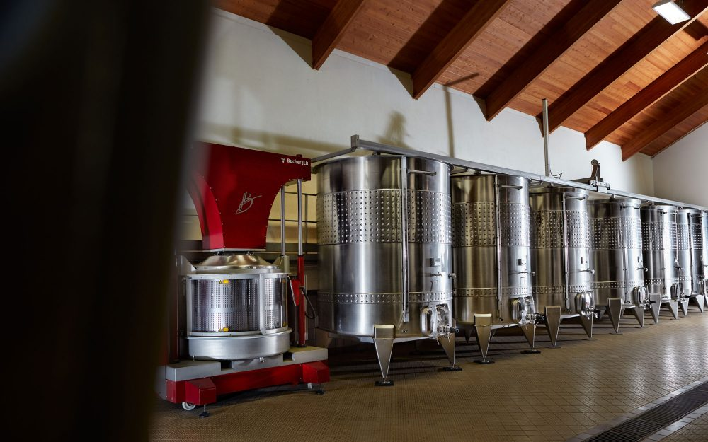 Grape press and stainless steel tanks