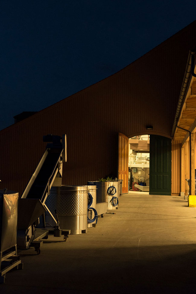 Winery crush pad at night