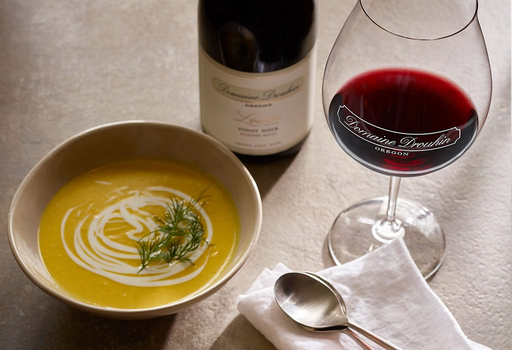 Squash soup with Louise Pinot noir