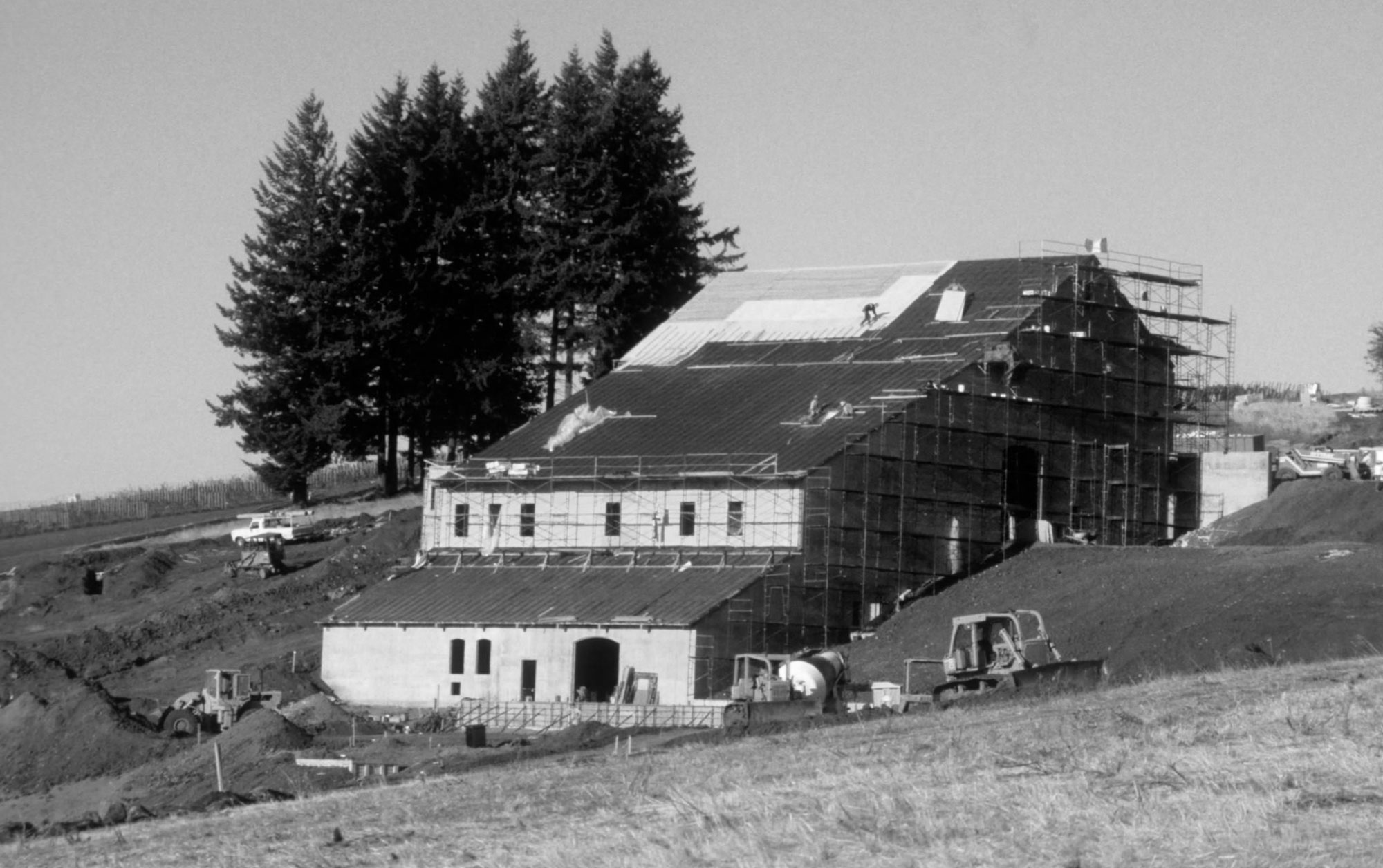 Black and white construction of DDO winery